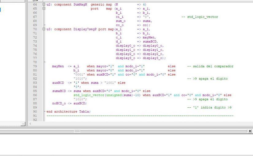 Lección 5.V25.4. Modificación de la descripción del sumador/ comparador.