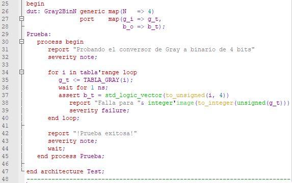 Última parte del código del testbench del conversor genérico de Gray a binario natural.