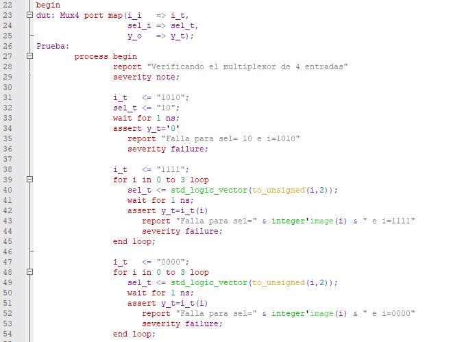 Código de parte del cuerpo de la arquitectura del testbench para el multiplexor de 4 canales.