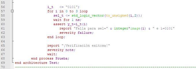 Código de parte del cuerpo final de la arquitectura del testbench para el multiplexor de 4 canales.