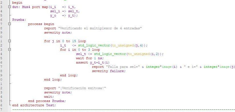 """Lección 7.V30.2. Testbench optimizado para el multiplexor de 4 canales. Uso """"for"""" anidados."""