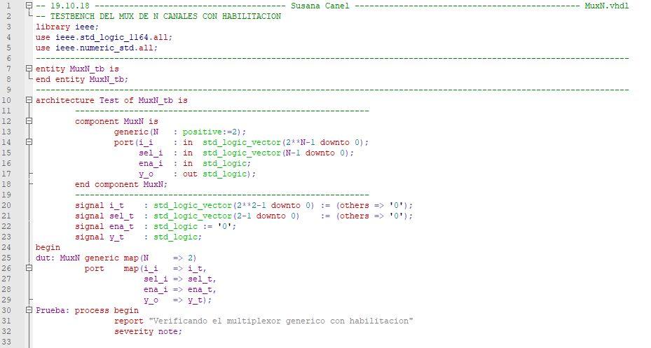 Primera parte del código del testbench del multiplexor genérico.