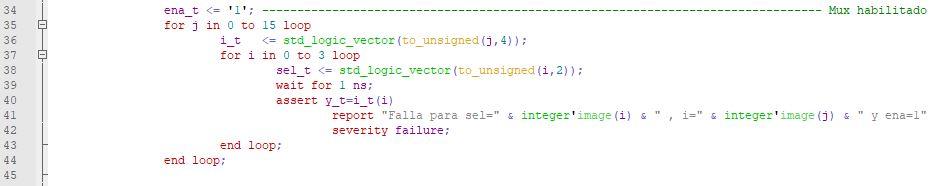 Segunda parte del código del testbench del multiplexor genérico.