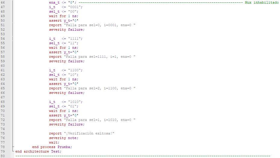 Última parte del código del testbench del multiplexor genérico.