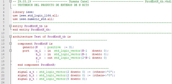 Primera parte del código del testbench para el multiplicador genérico de enteros.