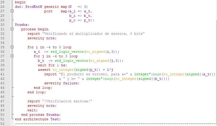 Última parte del código del testbench para el multiplicador genérico de enteros.