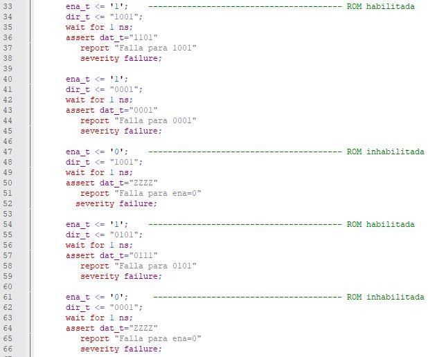 Segunda parte del código del testbench de una memoria ROM.