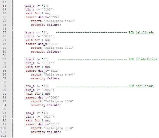 Tercera parte del código del testbench de una memoria ROM.