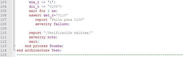 Última parte del código del testbench de una memoria ROM.