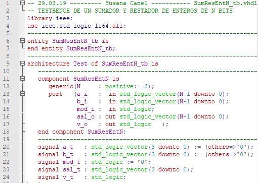 Primera parte del código del testbench para el sumador/restador genérico de enteros.