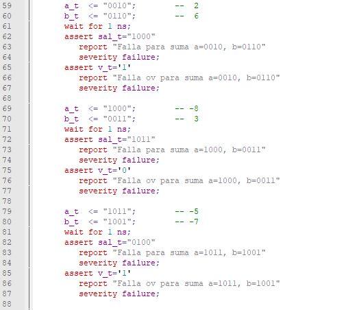 Tercera parte del código del testbench para el sumador/restador genérico de enteros.