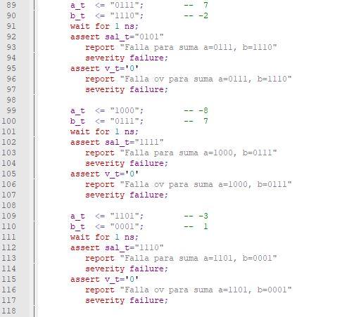 Cuarta parte del código del testbench para el sumador/restador genérico de enteros.