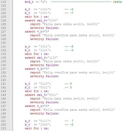 Quinta parte del código del testbench para el sumador/restador genérico de enteros.