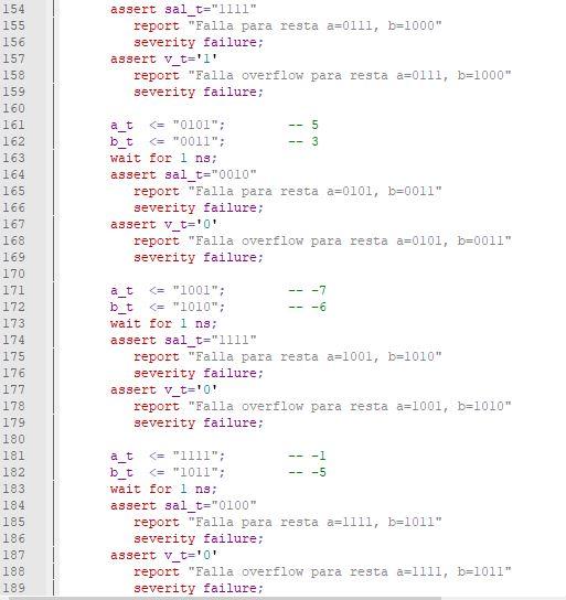 Sexta parte del código del testbench para el sumador/restador genérico de enteros.