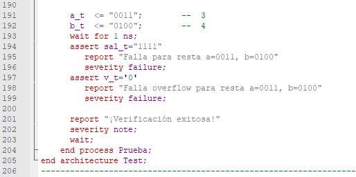 Última parte del código del testbench para el sumador/restador genérico de enteros.