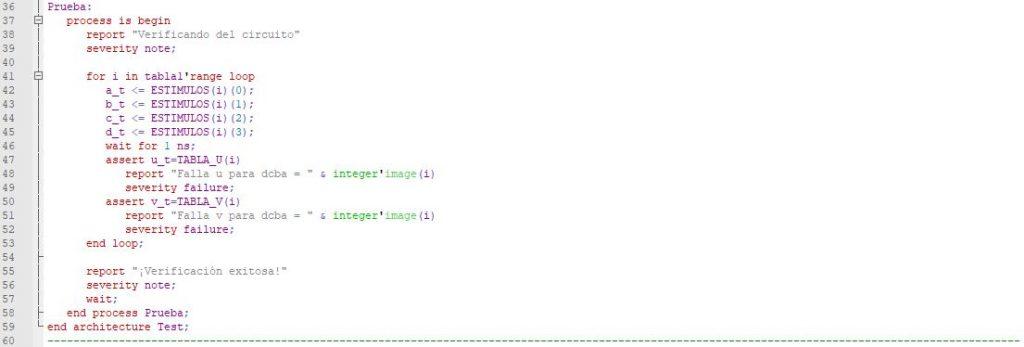 Última parte del código del testbench para el circuito estructural.
