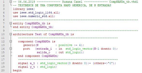 Primera parte del código del testbench de la compuerta NAND genérica.