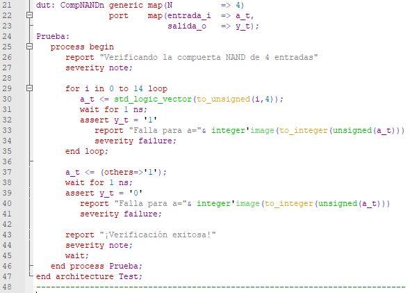 Última parte del código del testbench de la compuerta NAND genérica.