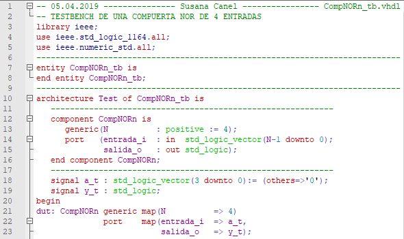 Primera parte del código del testbench para la compuerta NOR genérica.