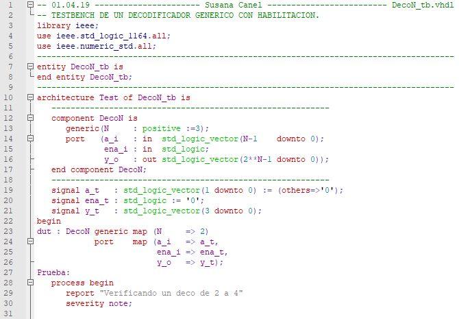 Primera parte del código del testbench de un decodificador genérico.