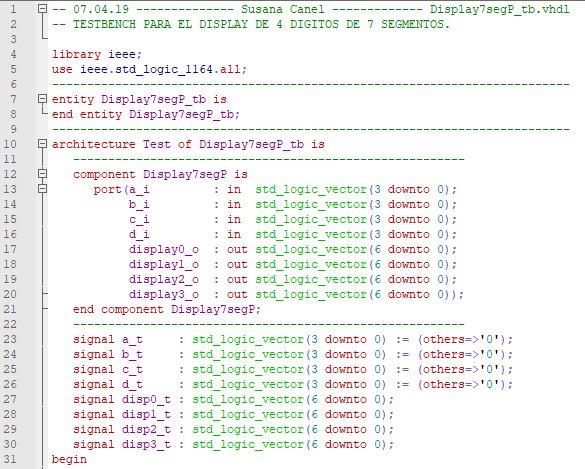 Primera parte del código del testbench para el display de 4 dígitos de 7 segmentos.