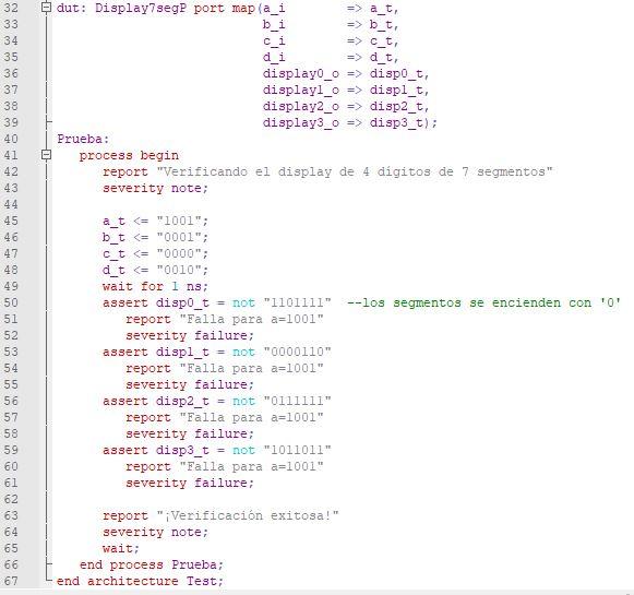 Última parte del código del testbench para el display de 4 dígitos de 7 segmentos.