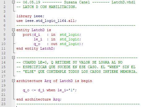 Descripción VHDL de un latch D.