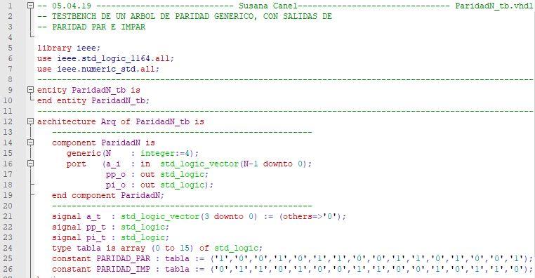 Primera parte del código del testbench para el árbol de paridad.