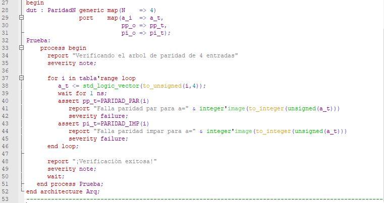 Última parte del código del testbench para el árbol de paridad.