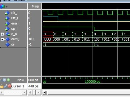 Lección 11.V67. Testbench del contador binario, sincrónico, bidireccional.