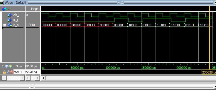 Lección 12.V75. Testbench del registro SISO/SIPO, sincrónico, desplazamiento a derecha.