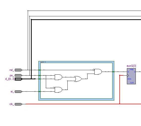 Lección 12.V76. Descripción: registro SISO, SIPO, carga paralelo, sincrónico, genérico, con reset.