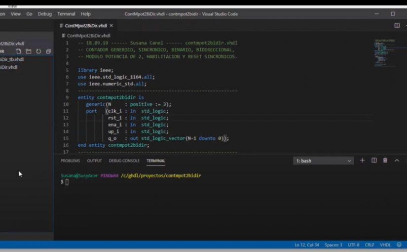V87. Open Source para editar y simular, ghdl, gtkwave, vs code, git bash.