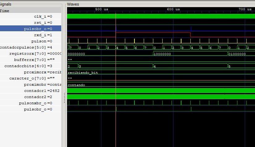 Lección 20.V135. Testbench: receptor de la UART RS-232. Relación entre el baud-rate y el muestreo. Solución. Simulación.